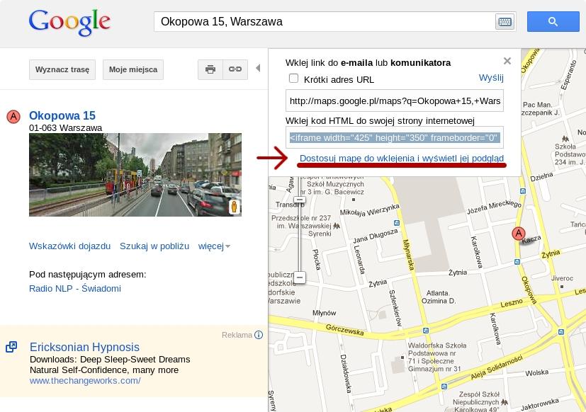 Jak umieścić mapę google na stronie html